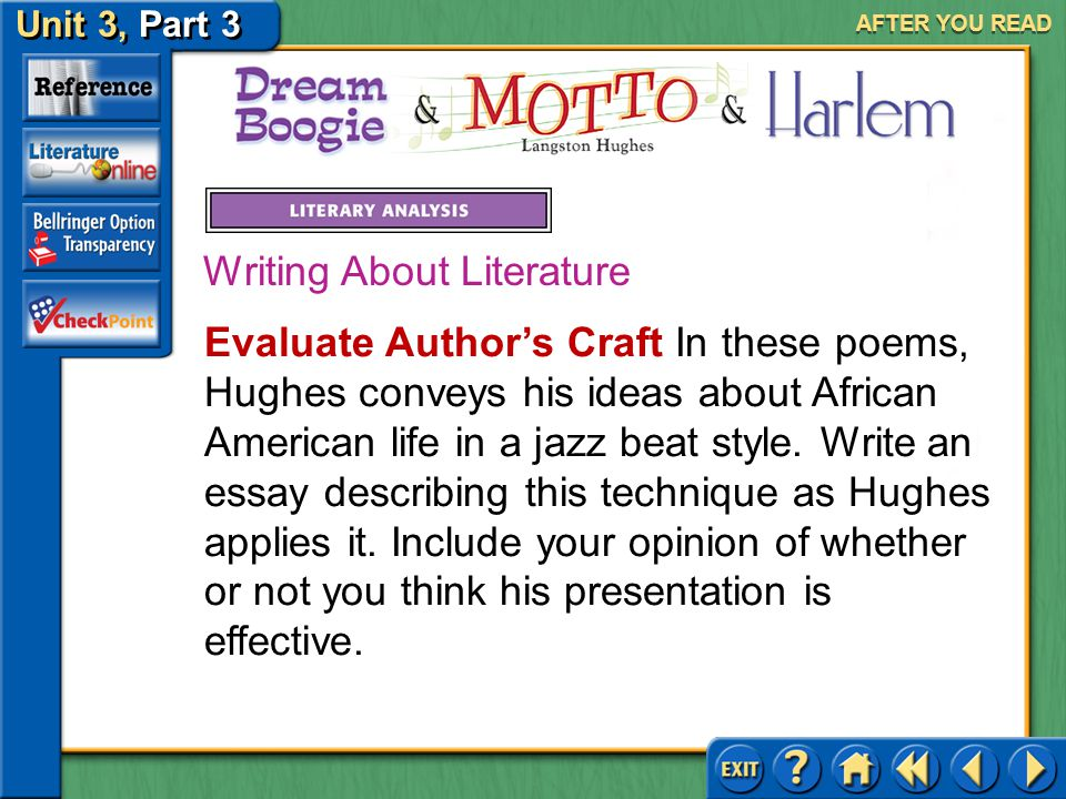 """langston hughes """"salvation essay example Langston hughes' short story salvation is a good example of four critical strategies used in writing: formalist criticism, reader-response criticism, historical criticism, and gender criticism formalist criticism places the emphasis on literature being an independent creation."""
