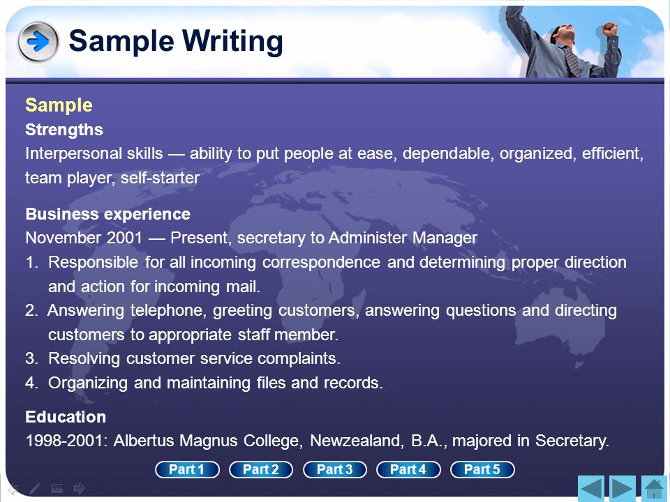 Sample Writing Sample Strengths