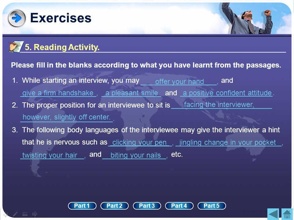 Exercises 5. Reading Activity.