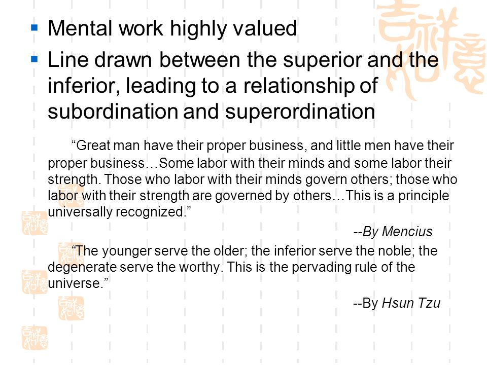 Mental work highly valued