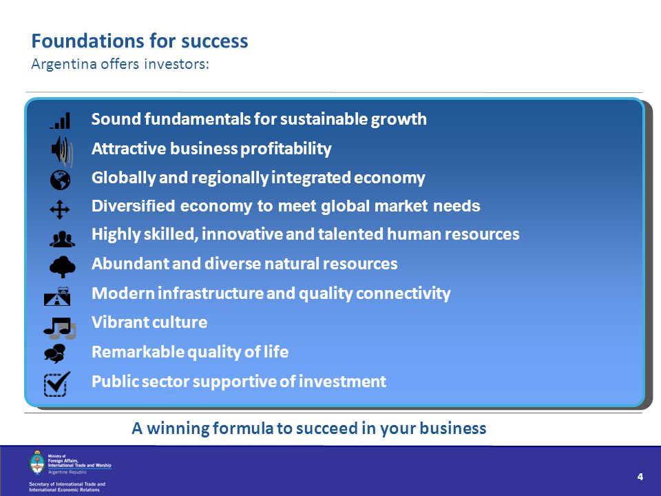 Foundations for success Argentina offers investors: