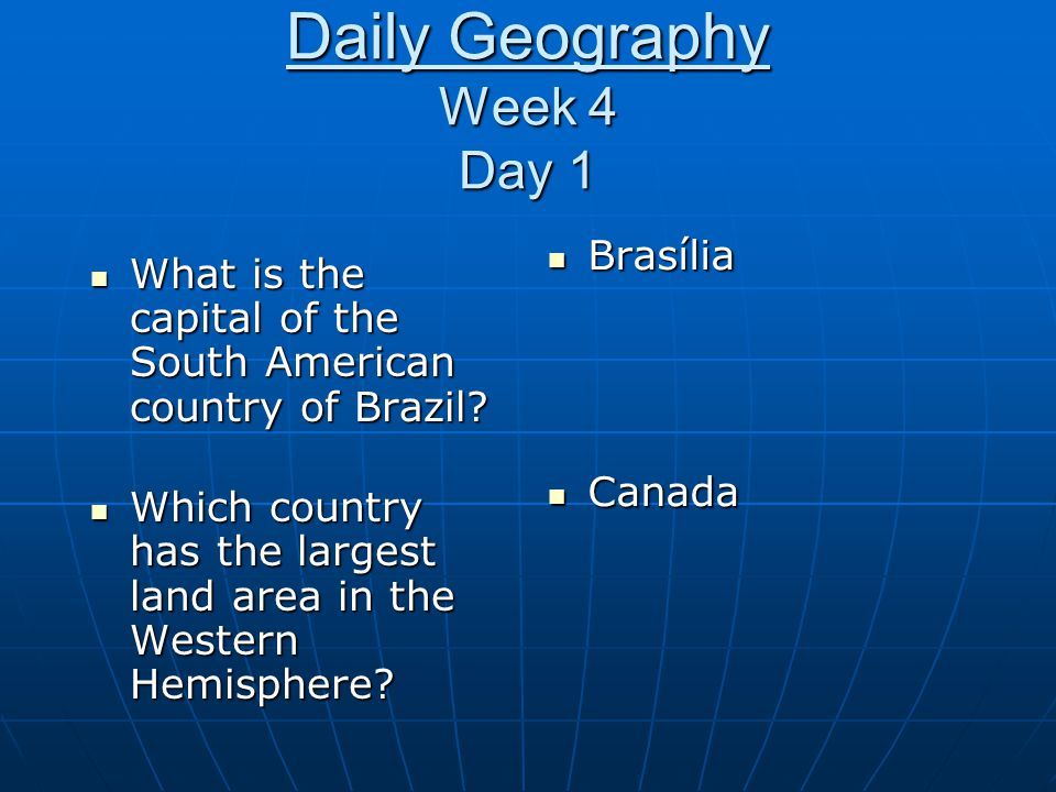 Daily Geography Week 4 Day 1