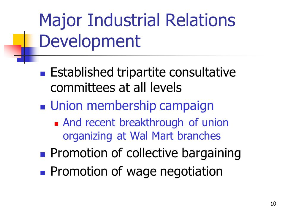 Major Industrial Relations Development