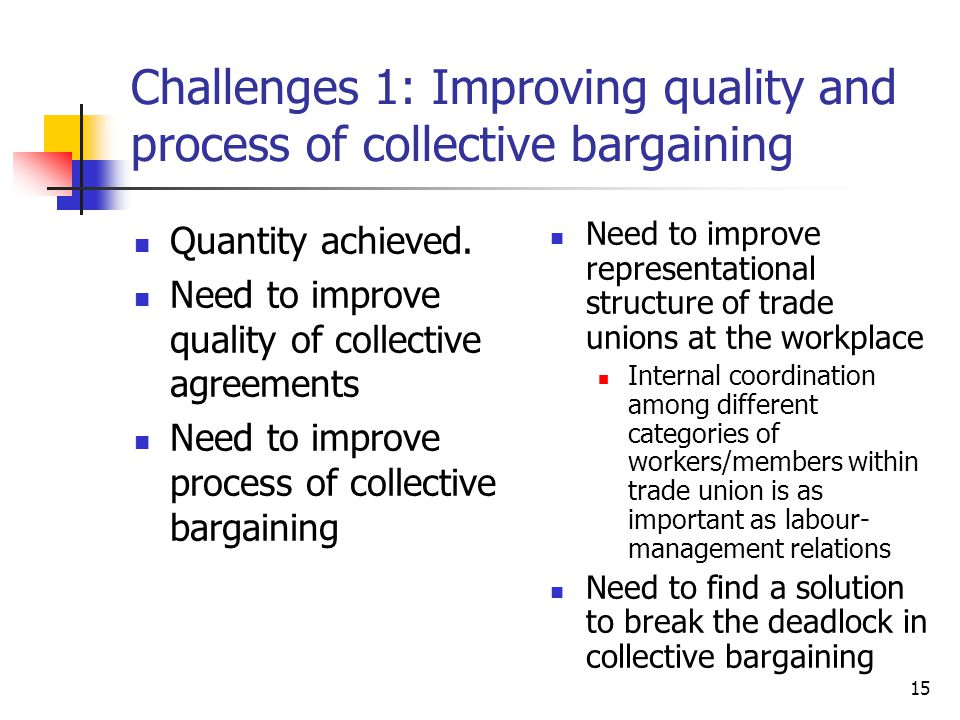 Challenges 1: Improving quality and process of collective bargaining