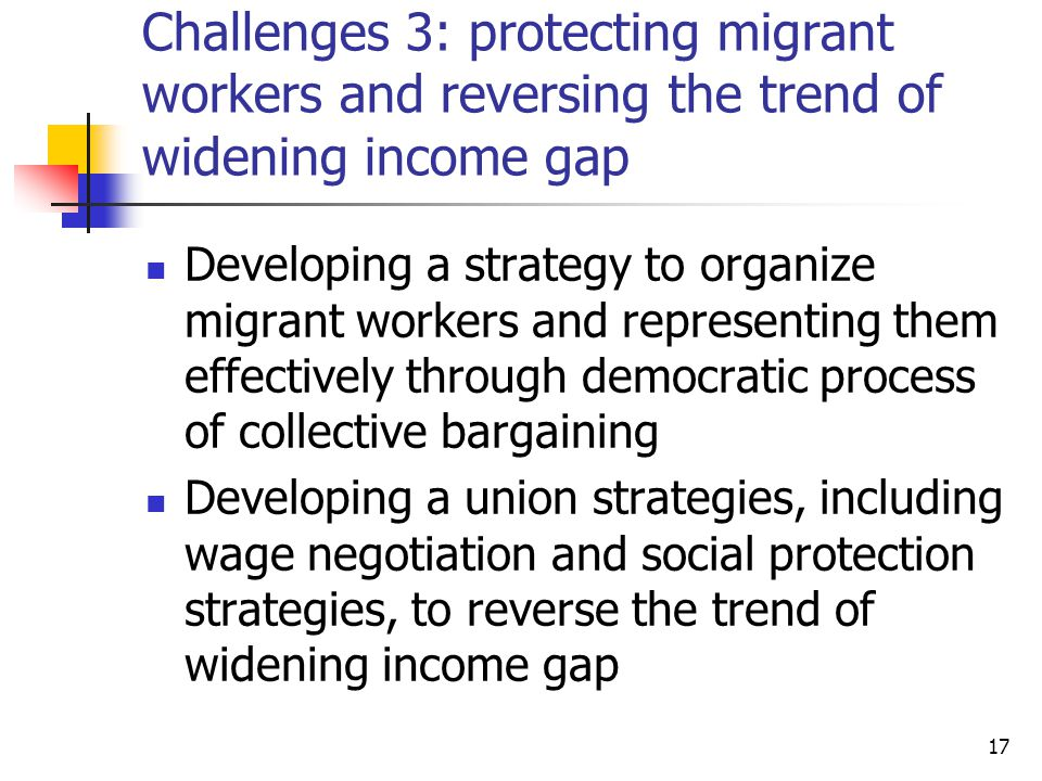 Challenges 3: protecting migrant workers and reversing the trend of widening income gap