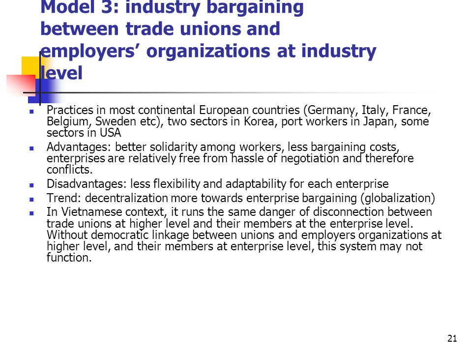 Model 3: industry bargaining between trade unions and employers' organizations at industry level