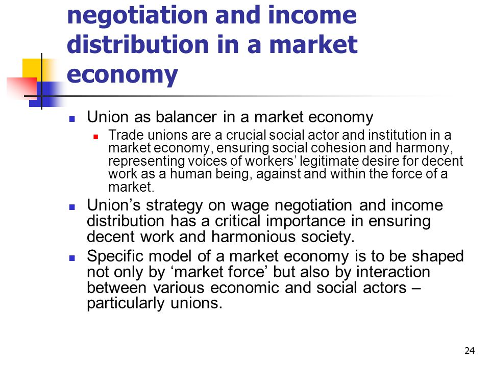 Union strategy on wage negotiation and income distribution in a market economy