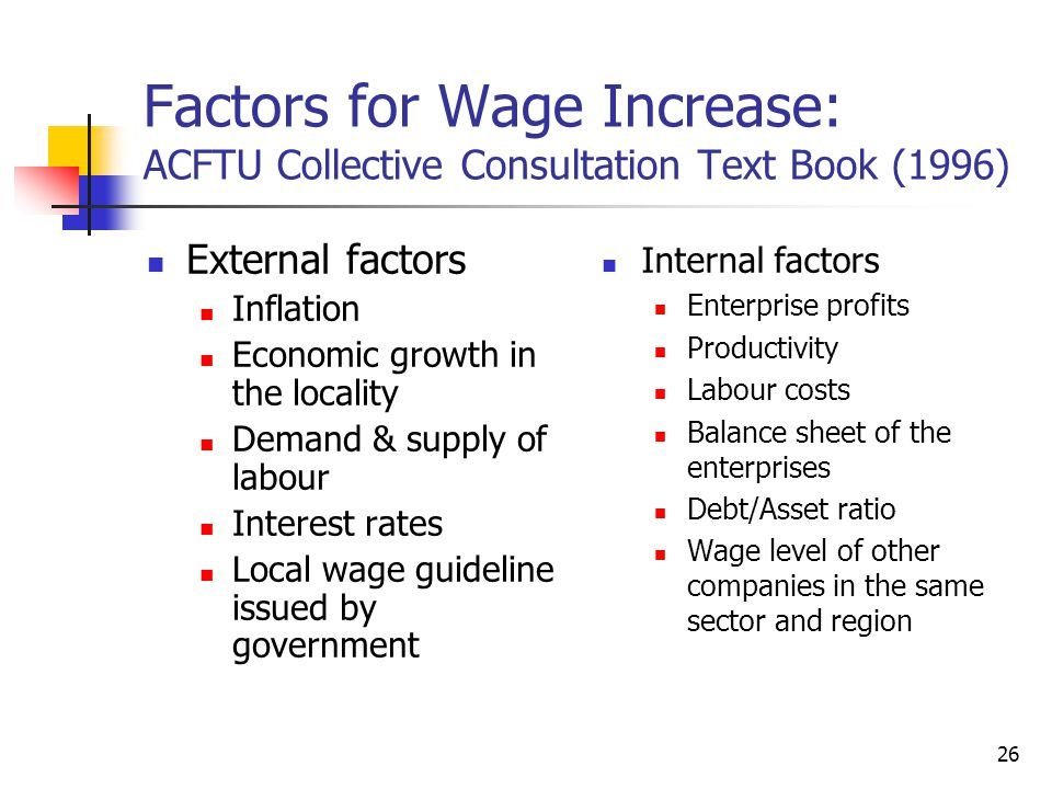 Factors for Wage Increase: ACFTU Collective Consultation Text Book (1996)