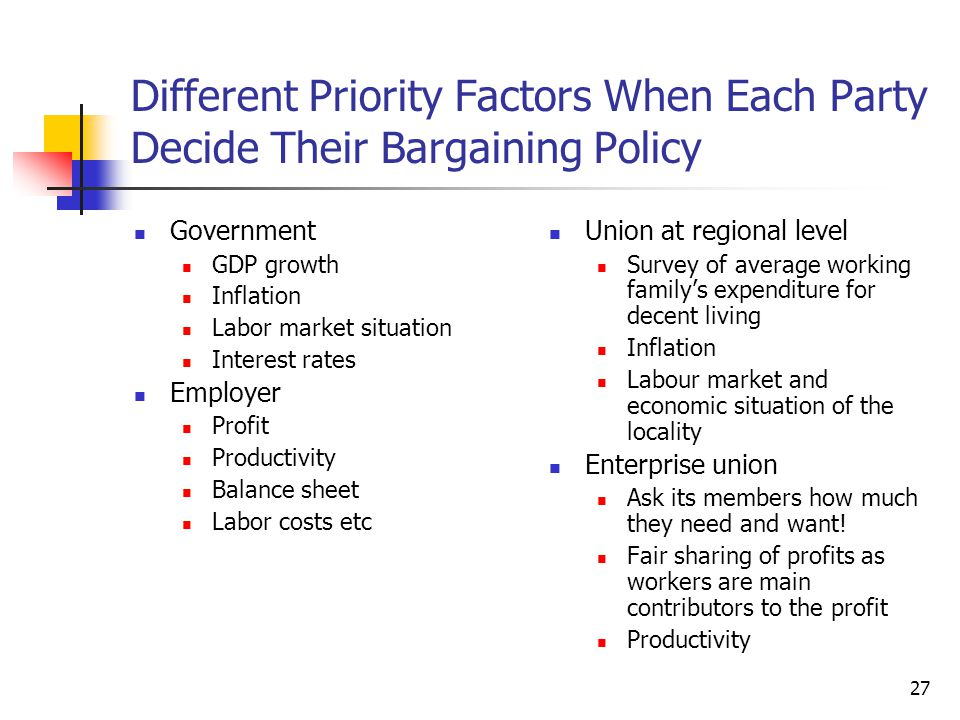 Different Priority Factors When Each Party Decide Their Bargaining Policy