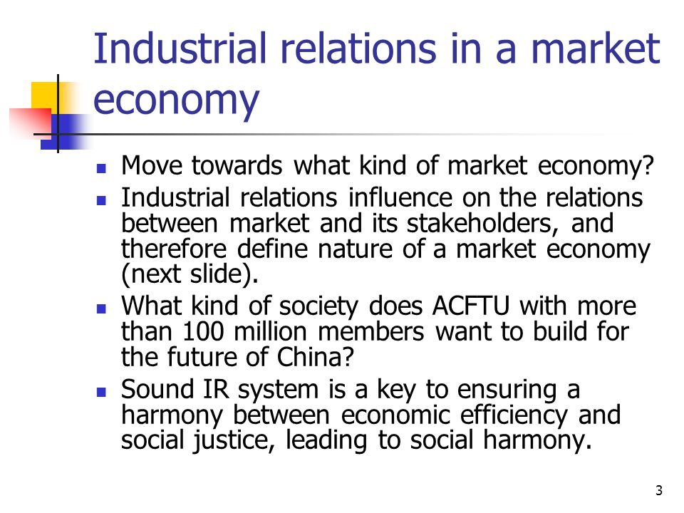 Industrial relations in a market economy