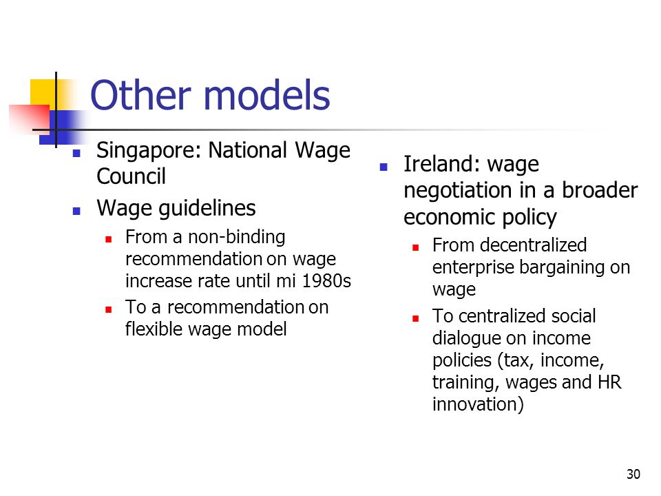 Other models Singapore: National Wage Council