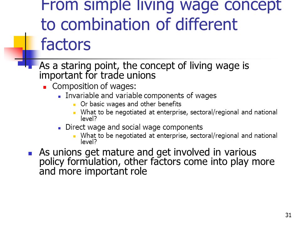 From simple living wage concept to combination of different factors