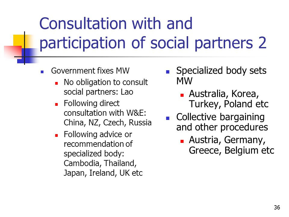 Consultation with and participation of social partners 2