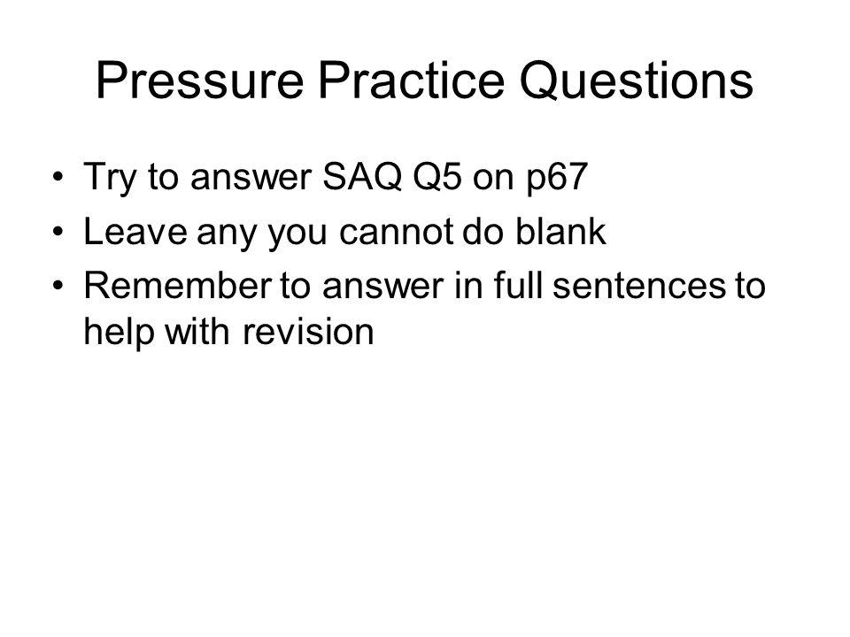 Pressure Practice Questions