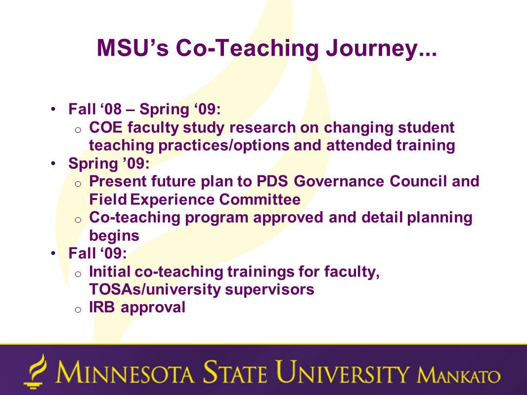 MSU's Co-Teaching Journey...