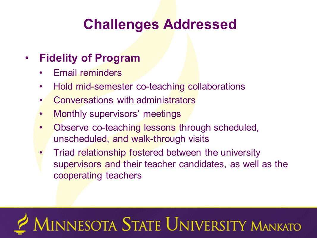 Challenges Addressed Fidelity of Program Email reminders