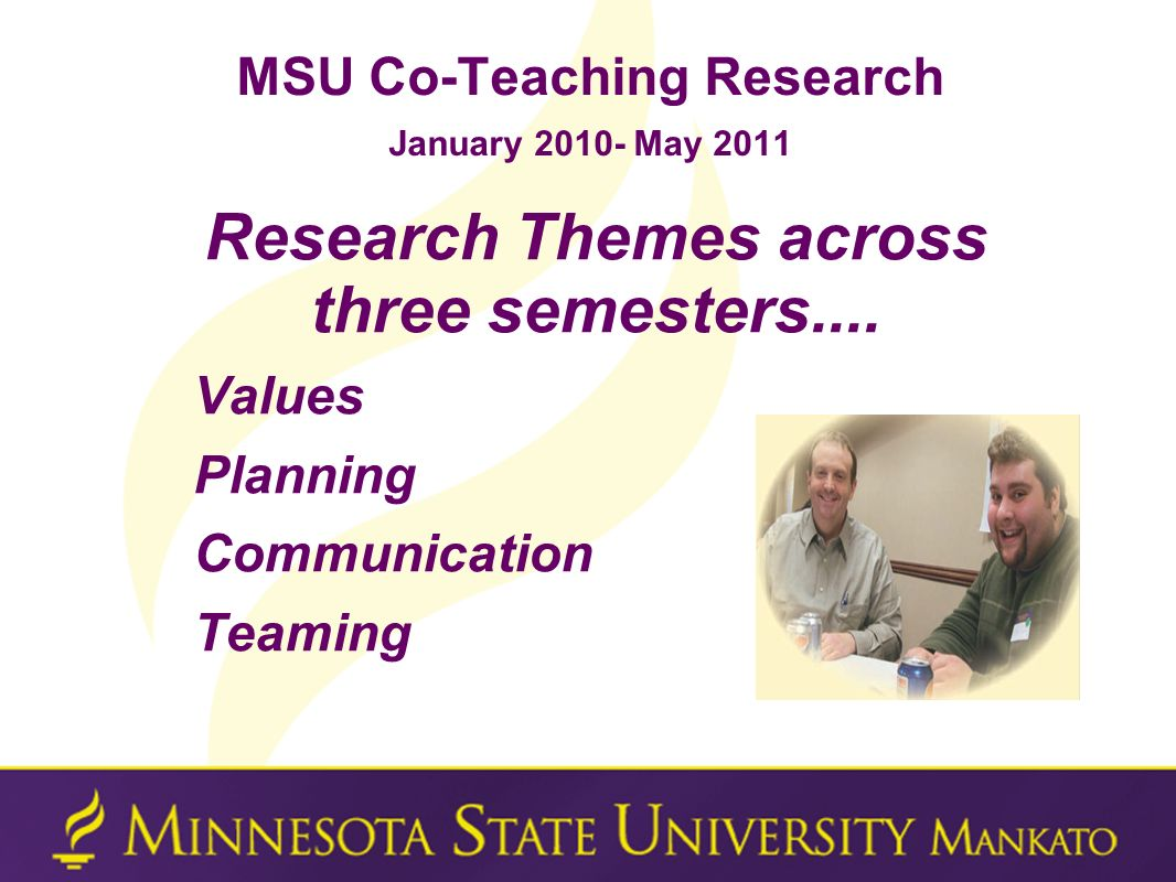 MSU Co-Teaching Research January 2010- May 2011