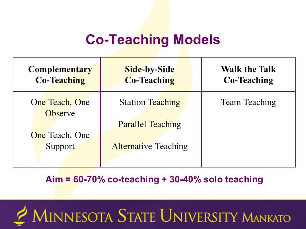 Aim = 60-70% co-teaching + 30-40% solo teaching