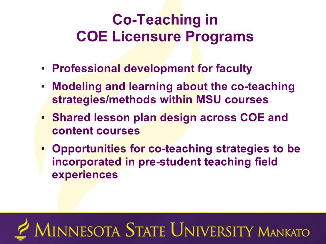 Co-Teaching in COE Licensure Programs