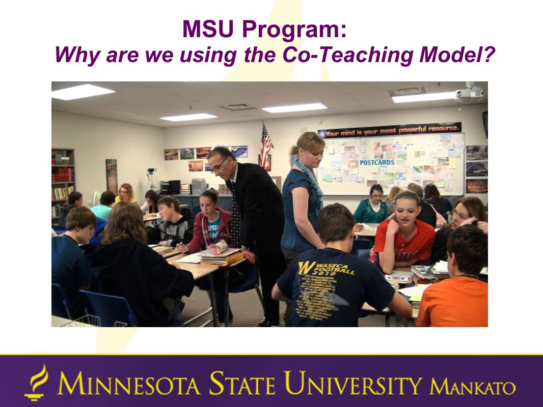 MSU Program: Why are we using the Co-Teaching Model