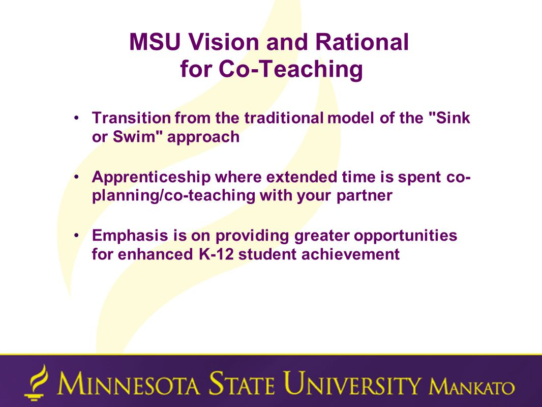 MSU Vision and Rational for Co-Teaching