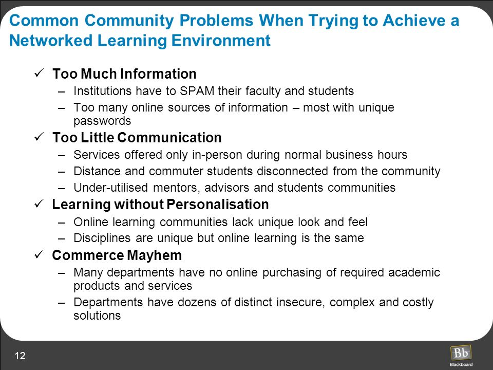 Common Community Problems When Trying to Achieve a Networked Learning Environment