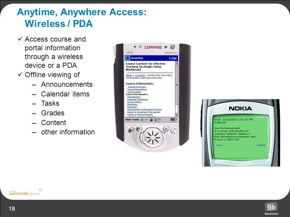 Anytime, Anywhere Access: Wireless / PDA