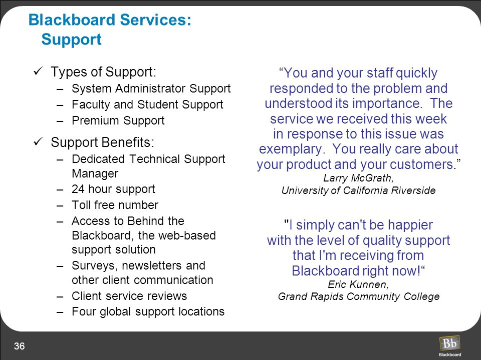 Blackboard Services: Support