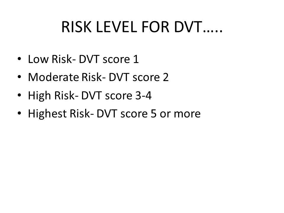 RISK LEVEL FOR DVT….. Low Risk- DVT score 1 Moderate Risk- DVT score 2