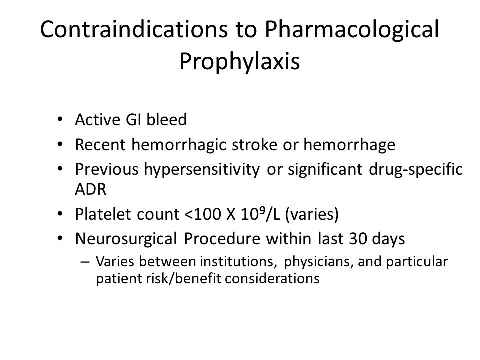 Contraindications to Pharmacological Prophylaxis