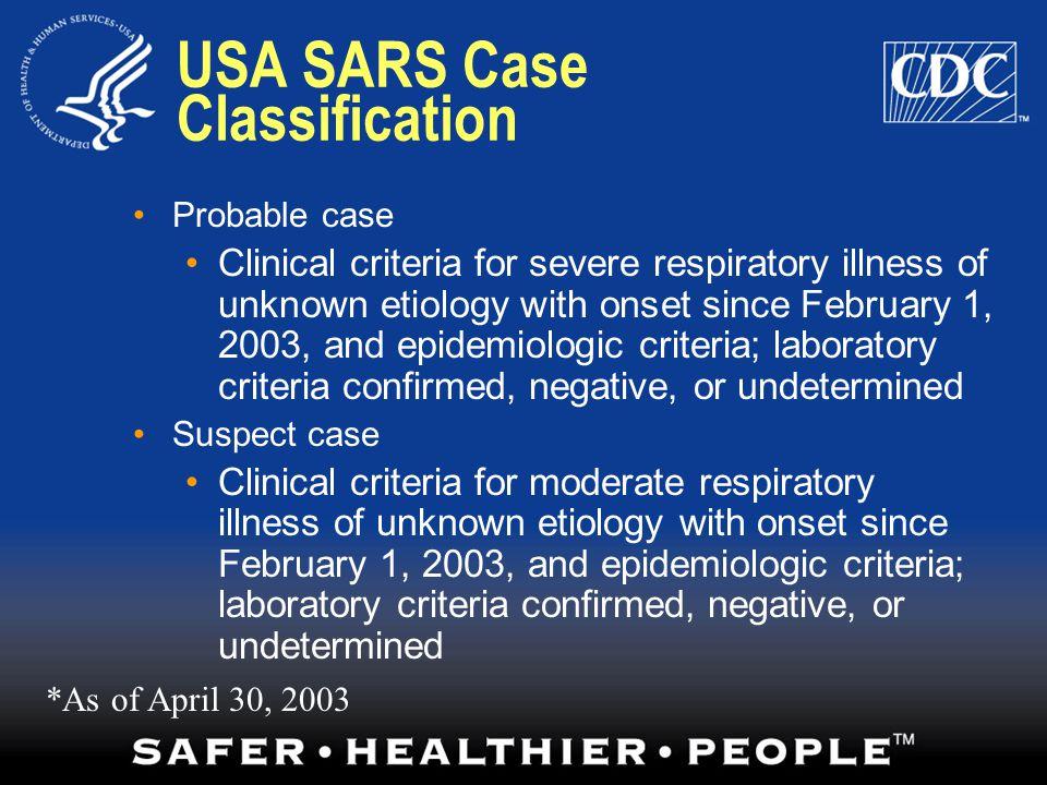 USA SARS Case Classification
