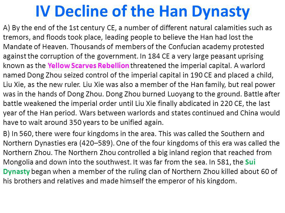 IV Decline of the Han Dynasty