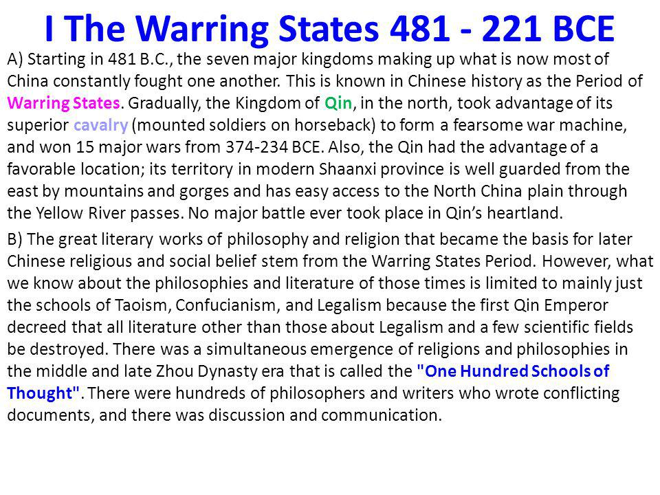 I The Warring States 481 - 221 BCE