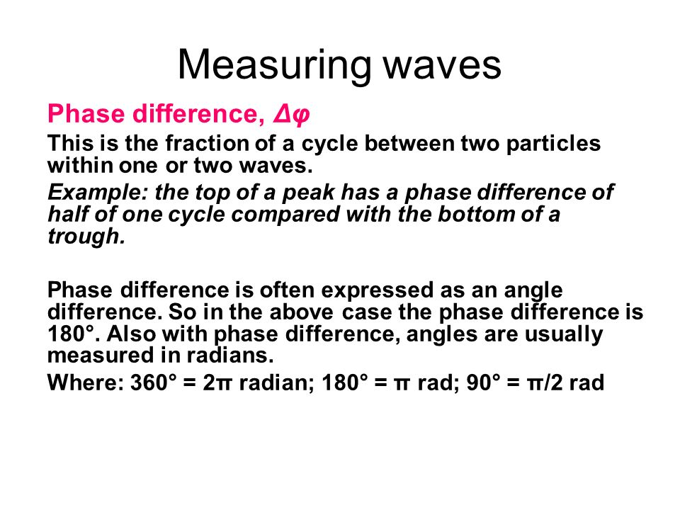 Measuring waves Phase difference, Δφ
