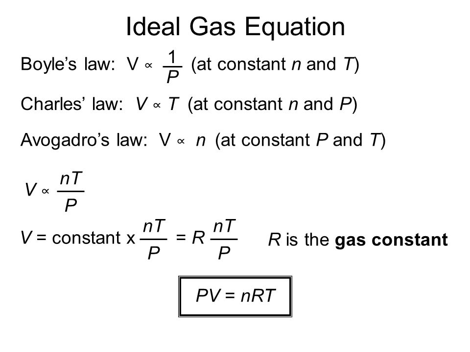 Ideal Gas Equation 1 Boyle's law: V ∝ (at constant n and T) P