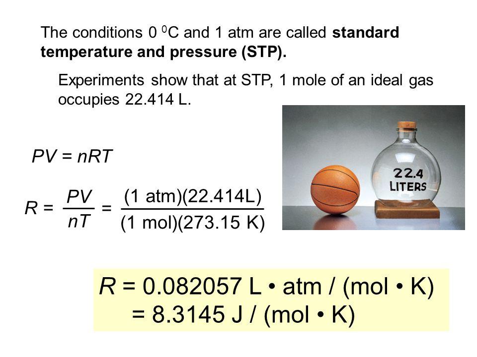 R = 0.082057 L • atm / (mol • K) = 8.3145 J / (mol • K) PV = nRT PV