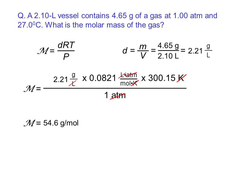 dRT P M = d = m V = = 2.21 1 atm x 0.0821 x 300.15 K M = M =