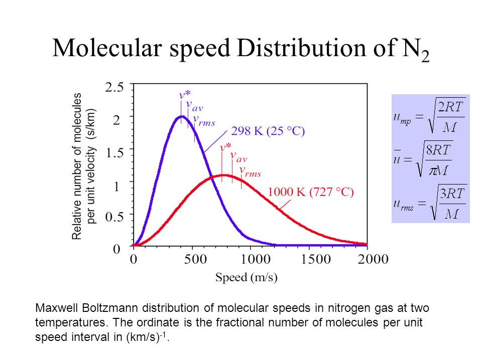 Molecular speed Distribution of N2 gas