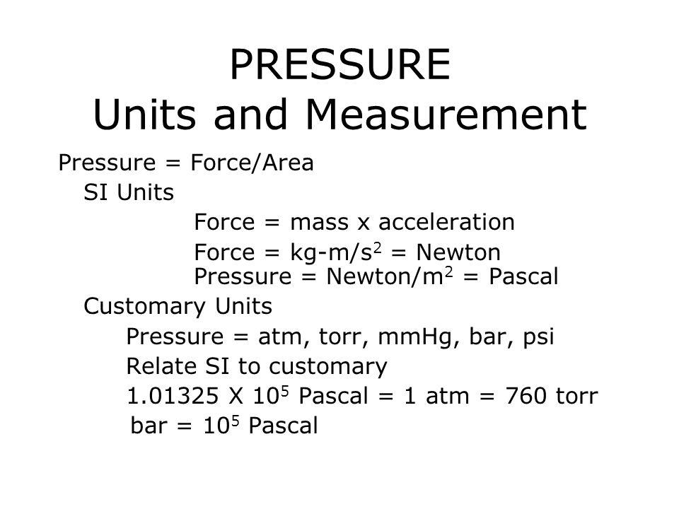 PRESSURE Units and Measurement