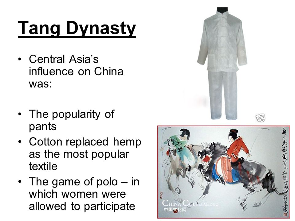 Tang Dynasty Central Asia's influence on China was: