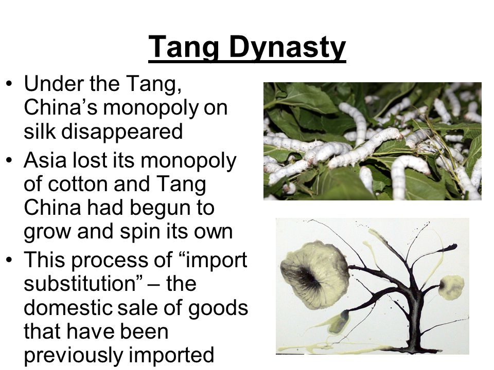 Tang Dynasty Under the Tang, China's monopoly on silk disappeared