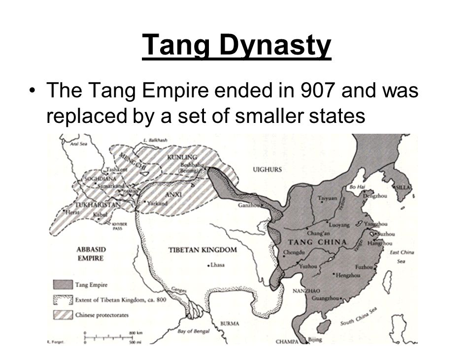 Tang Dynasty The Tang Empire ended in 907 and was replaced by a set of smaller states