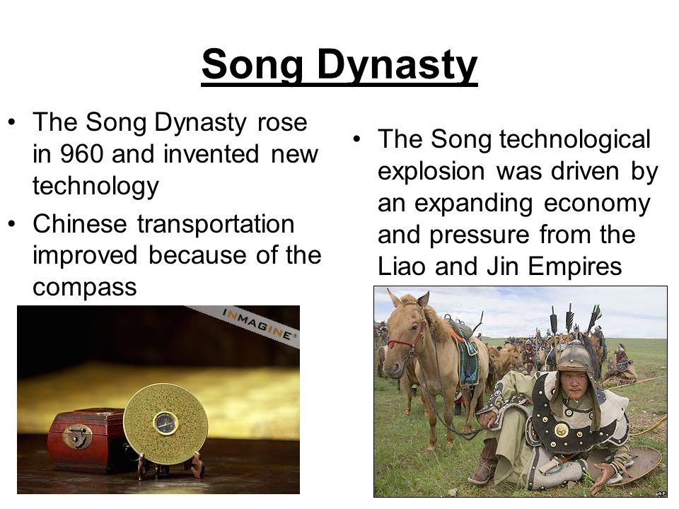 Song Dynasty The Song Dynasty rose in 960 and invented new technology