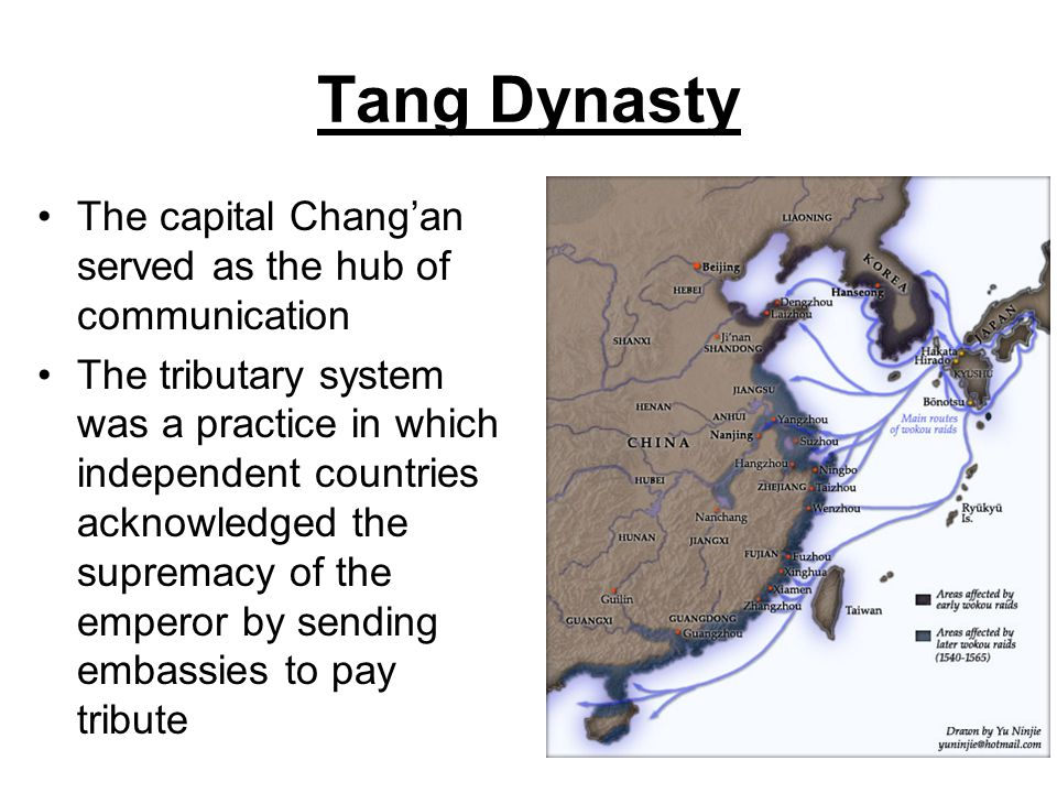 Tang Dynasty The capital Chang'an served as the hub of communication