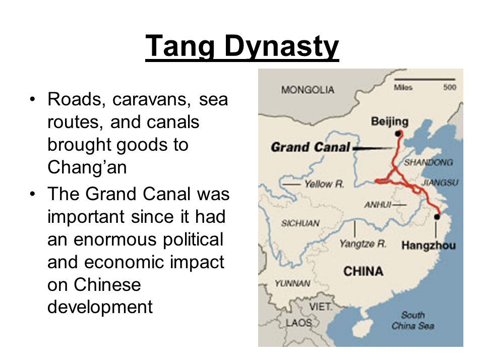 Tang Dynasty Roads, caravans, sea routes, and canals brought goods to Chang'an.