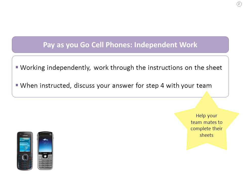 Pay as you Go Cell Phones: Independent Work
