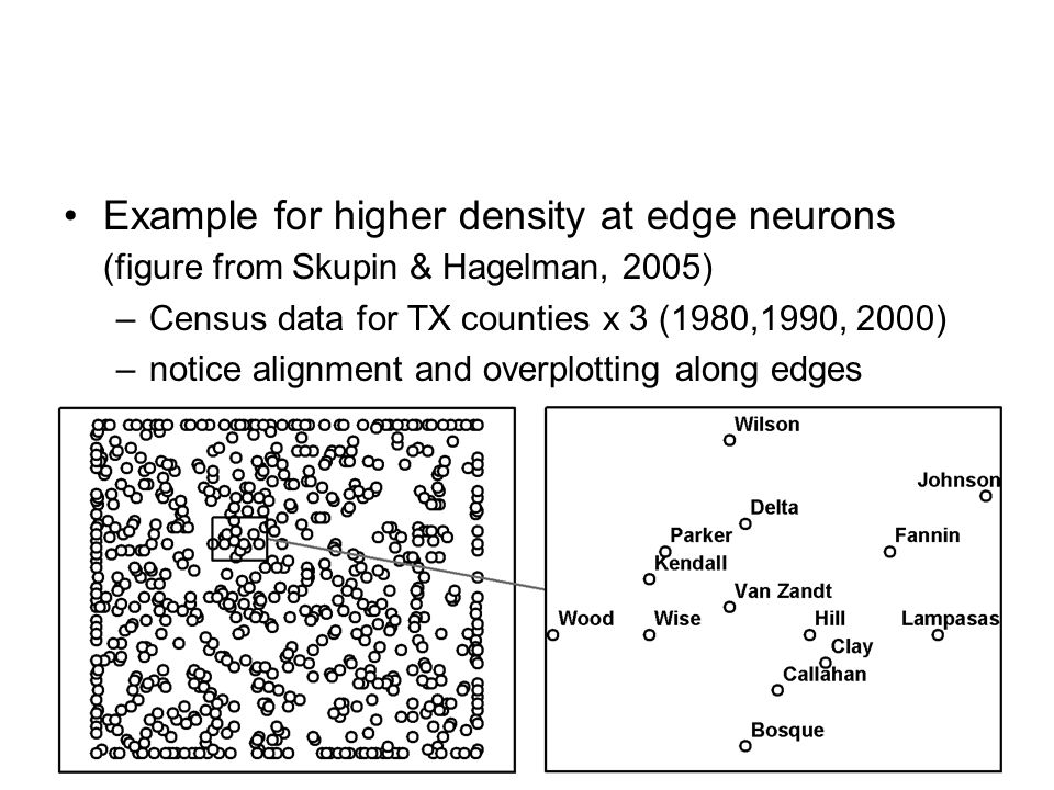 Example for higher density at edge neurons (figure from Skupin & Hagelman, 2005)