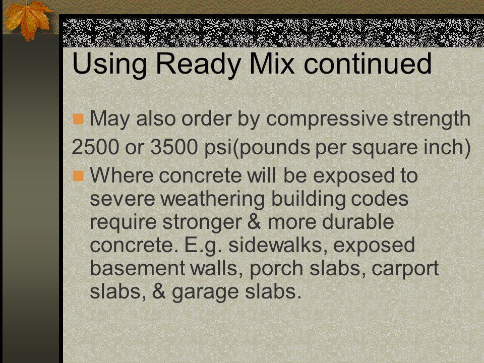Using Ready Mix continued