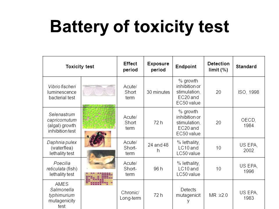 Battery of toxicity test
