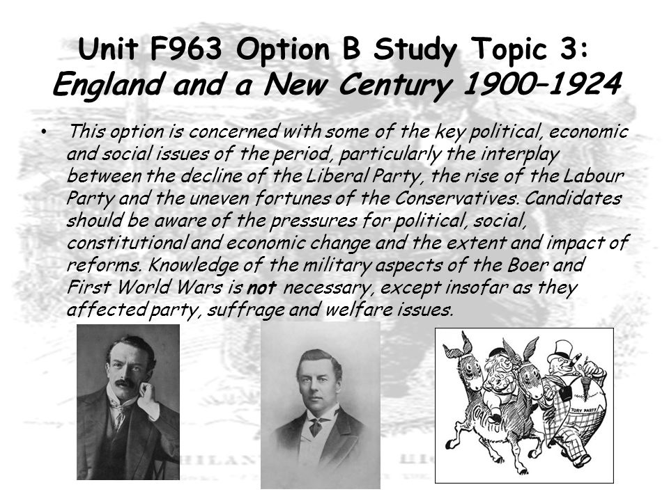Unit F963 Option B Study Topic 3: England and a New Century 1900–1924